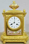 Sublime Antique French Bronze Ormolu And Pink Sevres Porcelain 8 Day Mantle Clock