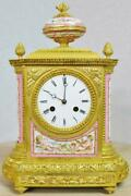 Amazing Antique French Bronze Ormolu And Pink Sevres Porcelain 8 Day Mantle Clock
