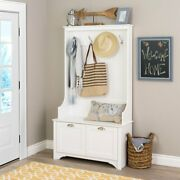 White Hall Tree With Bench Entryway Shoe Storage Cabinet Rack Coat Hat Hallway