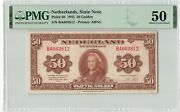 Netherlands 50 Gulden 1943 State Note Abnc Pick 68 Pmg About Uncirculated 50