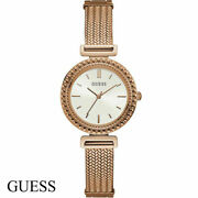 Guess W1152l3 Monroe White Rose Gold Stainless Steel Women's Watch New