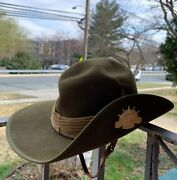 Vintage Wwii Era Australian Military Forces Slouch Hat W/ Pin Badge Hat. 21andrdquo Inc