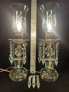 Pair Vintage Crystal Hurricane Lamps With Etched Shades And Drop Prism Crystals