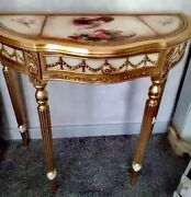 Antique Golden Table Half Moon With Hand Painted Table Top
