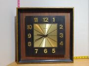Verichron Wall Clock Wood And Metal Mid Century Modern - Tested And Works