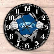 Ford Round Wall Glass Clock Garage Home Room Office Decor