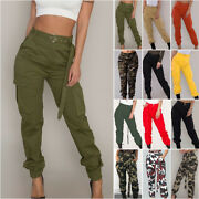 Womena Ladies Camo Jogger Cargo Pants Military Combat High Waisted Work Trousers