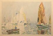 Signed Watercolour Riverscape Thames Barges By Sylvester Stannard Ra 1870-1951