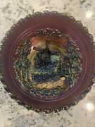 Antique Imperial Windmill Electric Amethyst Carnival Glass Bowl Andndash Swirled