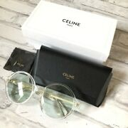 Celine Round Frame Retro Sunglasses Clear 58mm Muted Green Tinted Lenses Cl4005