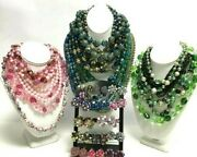 Vintage Costume Jewelry Lot Necklace Crystal Cluster Earrings Retro 50s Era Oo98