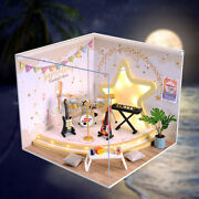 Creative Wooden Doll House 3d Puzzle Music Room Dustproof Cover Building Kit