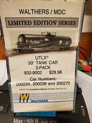 Rare Roundhouse Lmt Ed. 3 Utlx Tank Car 3-pack W/side Sticker All New