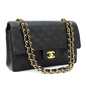 Quilted Lambskin Classic 25 Double Flap Chain Shoulder Bag Black 53768