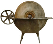 Huge Antique Farm Grinding Wheel Factory Mill Industrial Cast Iron Table Legs