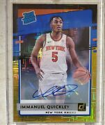 Immanuel Quickley 2020-21 Donruss Choice Rated Rookie Autograph Blackgold 2/8andnbsp