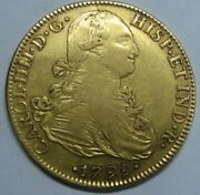 1799 Mexico 8 Escudos Charles Iv Spanish Gold Spain Coin Colonial