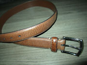Torino Brown Tumbled Glove Cowhide Leather Belt W Silver Buckle Menand039s Size 36