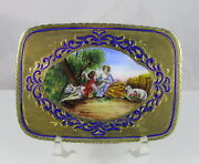 Antique Italy 800 Sterling Silverand Blue Enamel Powder Compact Lovers In Park