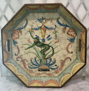 """Vintage 1980s Monkey Wood Tray Tole Hand Painted Flowers Swags 18"""" Octagon"""