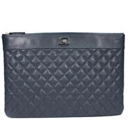Clutch Bag Matelasse Lambskin Navy Porch Silver Fittings A80993 89 _34125