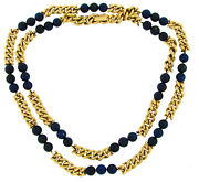 Vintage And Bead Necklace Yellow Gold Lapis Lazuli 1970s