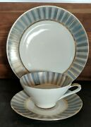 Lefton-bone China Hand Painted Cup Saucer And Desert Plate Gold N Baby Blue
