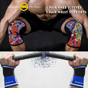 Knee Sleeves Squats 7mm Wrist Wraps Straps Powerlifting Weightlifting Full Set