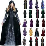 Ladies Womens Cosplay Party Fancy Costume Hooded Long Sleeve High Waist Dress