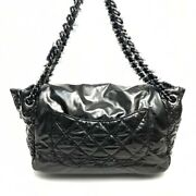 A49697 Cc Fabric Flaps Chain Shoulder Bag Nylon Women And039s Black Sil _35542