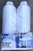 Open Package Of 2 Beacon Island White Inflatable Vinyl Boat Fenders 6.5 X 22