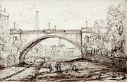 Industrial Town Landscape Antique Pen And Ink Drawing - 19th Century