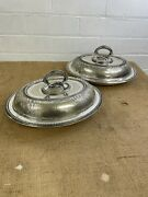 Matching Pair Antique James Dixon Silver Plated Entree Dishes / Tureens