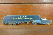 Vintage 1940s Ww2 Original Usaf Blue Ball Express Hand Painted Semi Truck Sign