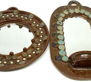 Vintage Handmade Boho Pottery Mirror Wall Hanging Candle Holder Sconce Set Of 2