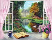 Window Swan Lake Garden Home Nature Paint By Numbers Canvas Wall Art Painting