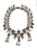 3500 Givenchy Palladium Crystal And Pearl Statement Collar Necklace
