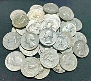 One Full Roll 40 Pre 1965 90 Silver Washington Quarters Random Dates Up To 64