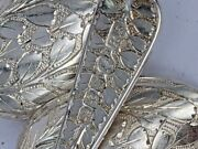 Set Of Six Silver Victorian Leaf Pattern Spoons With Sugar Tongs Glasgow 1889