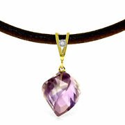 Genuine Amethyst Gemstone And Diamond Pendant Leather Cord Necklace 14k Solid Gold