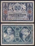 Germany 20 Mark Reichs Banknote 1915 Bb / Vf A-10