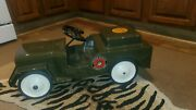 Vintage Structo Pressed Steel Ride On Usa Jeep Pedal Car Toy Restored