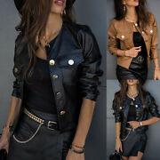 Womens Ladies Faux Leather Punk Biker Coat Bomber Jacket Buttons Casual Outwear