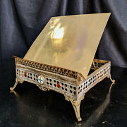 Ornate Antique 19th Century French Missal Stand Book Rest Tabor With Ruby Glass
