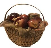 Faux Artifical Rubber Pomegranate Fruit In Buttock Weaved Gathering Basket