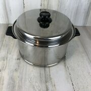 Vintage Lifetime Custom Designed T304 Stainless Steel 6 Qt Stock Pot And Lid Usa