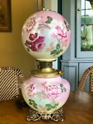 Antique Victorian Gwtw Banquet Parlor Lamp Ball Globe Hand Painted