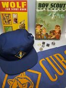 Vntg Boy Scout Lotcub Wolf Bobcatbooks Hat Banner Pins And Sterling Silver Ring