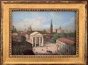 19th Century Cityscape Architecture City Of Milan Italy Unsigned Oil On Board