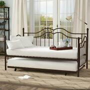 Metal Daybed With Trundle Twin Frame Bed Futon Vintage Bedroom Furniture Guests